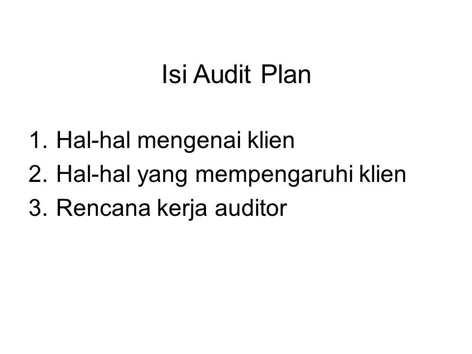 Isi Audit Plan 1.Hal-hal mengenai klien 2.Hal-hal yang mempengaruhi klien 3.Rencana kerja auditor