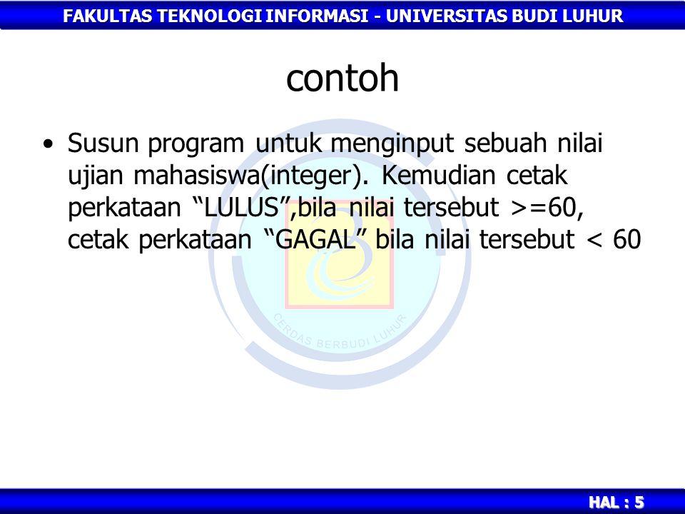 FAKULTAS TEKNOLOGI INFORMASI - UNIVERSITAS BUDI LUHUR HAL : 5 contoh Susun program untuk menginput sebuah nilai ujian mahasiswa(integer).