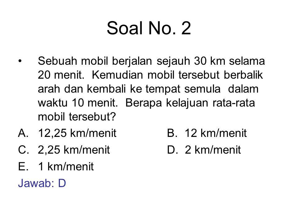 Soal No. 2 Sebuah mobil berjalan sejauh 30 km selama 20 menit. Kemudian mobil tersebut berbalik arah dan kembali ke tempat semula dalam waktu 10 menit
