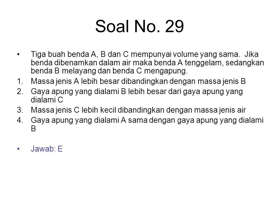 Soal No. 29 Tiga buah benda A, B dan C mempunyai volume yang sama. Jika benda dibenamkan dalam air maka benda A tenggelam, sedangkan benda B melayang