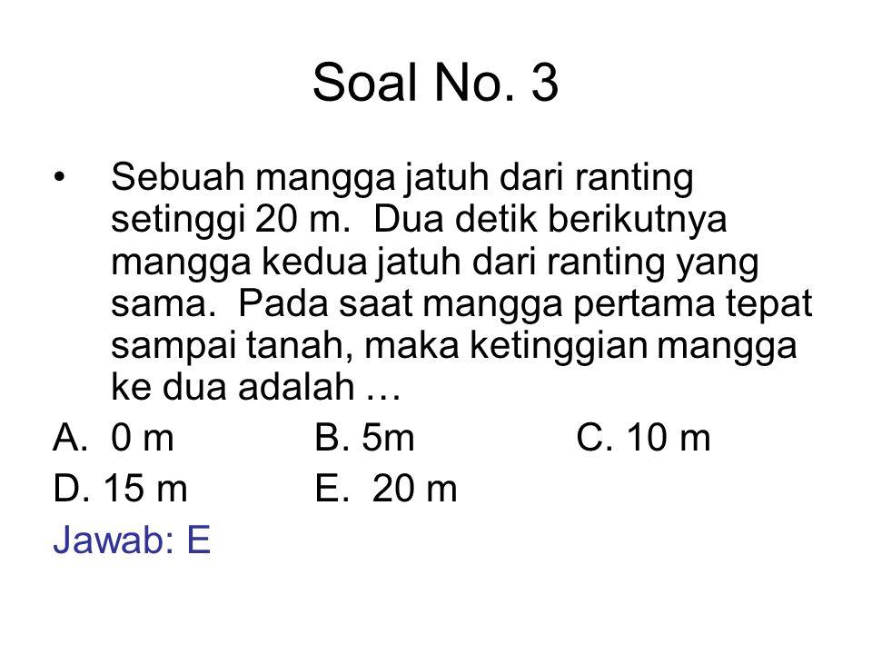 Soal No. 3 Sebuah mangga jatuh dari ranting setinggi 20 m. Dua detik berikutnya mangga kedua jatuh dari ranting yang sama. Pada saat mangga pertama te