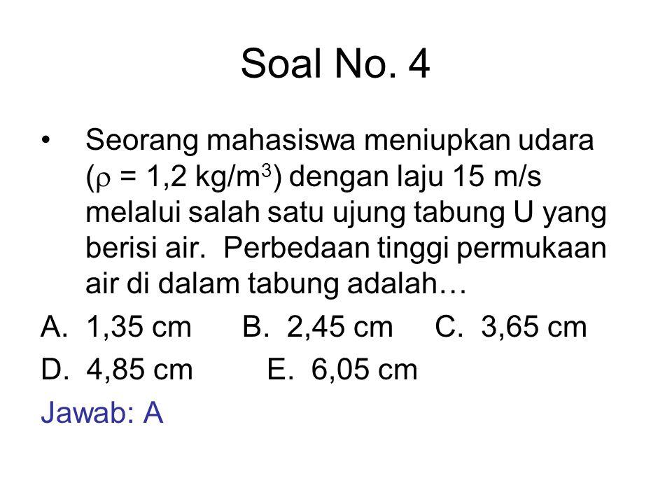 Soal No. 4 Seorang mahasiswa meniupkan udara (  = 1,2 kg/m 3 ) dengan laju 15 m/s melalui salah satu ujung tabung U yang berisi air. Perbedaan tinggi