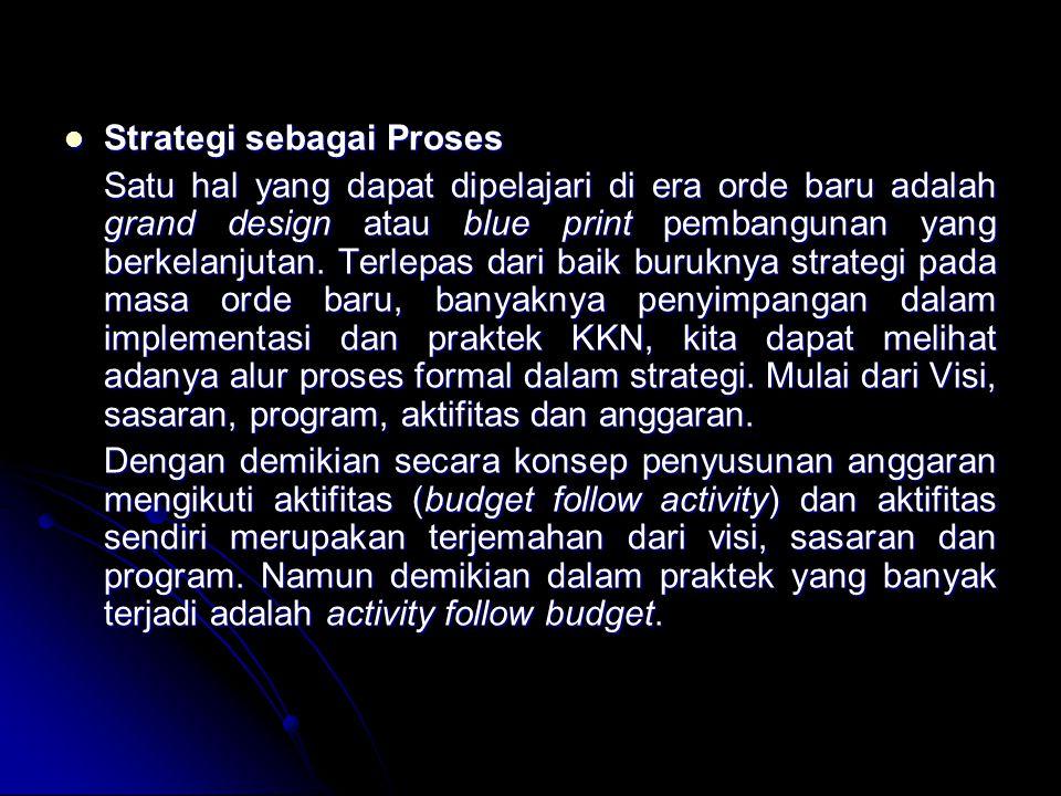 Strategi sebagai Proses Strategi sebagai Proses Satu hal yang dapat dipelajari di era orde baru adalah grand design atau blue print pembangunan yang berkelanjutan.