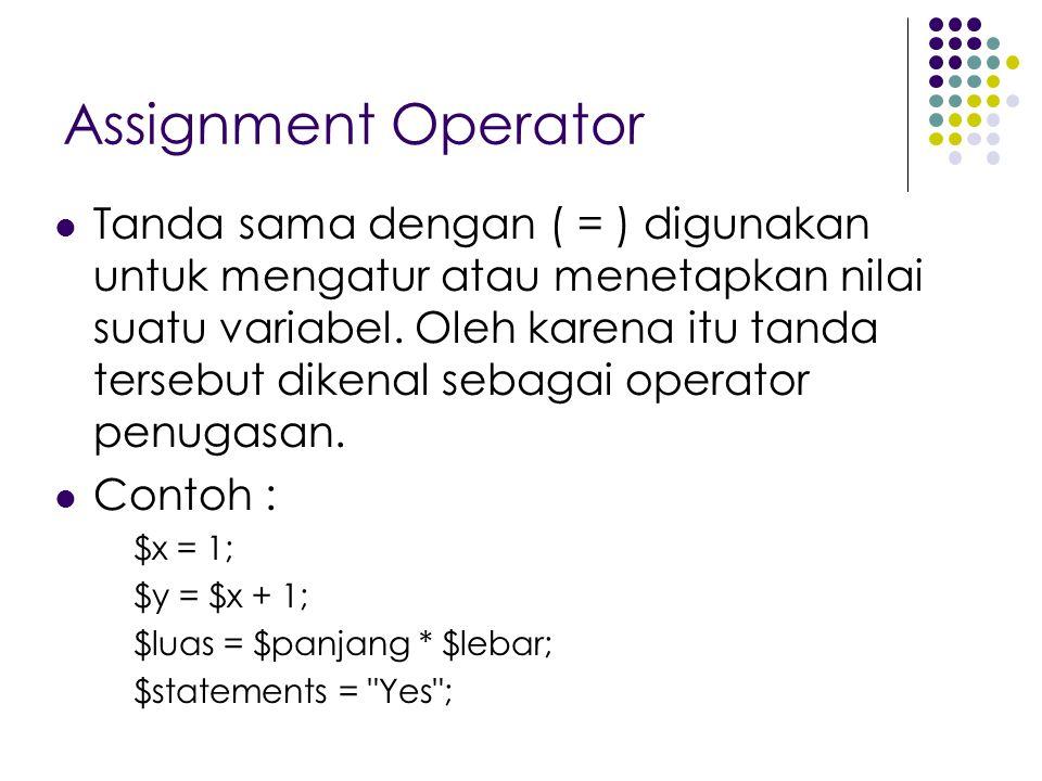 Assignment Operator Tanda sama dengan ( = ) digunakan untuk mengatur atau menetapkan nilai suatu variabel. Oleh karena itu tanda tersebut dikenal seba