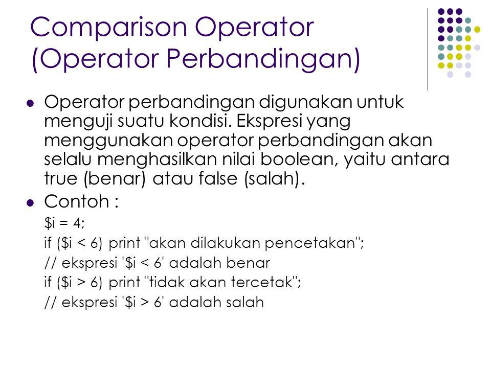 Comparison Operator (Operator Perbandingan) Operator perbandingan digunakan untuk menguji suatu kondisi. Ekspresi yang menggunakan operator perbanding
