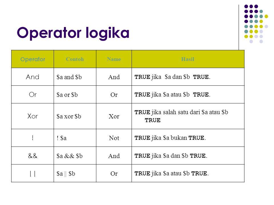 Operator logika Operator ContohNameHasil And $a and $bAnd TRUE jika $a dan $b TRUE. Or $a or $bOr TRUE jika $a atau $b TRUE. Xor $a xor $bXor TRUE jik