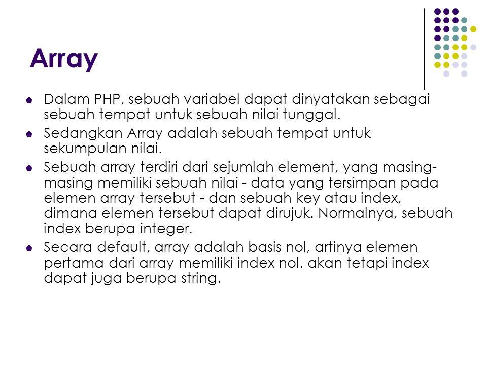 Array Dalam PHP, sebuah variabel dapat dinyatakan sebagai sebuah tempat untuk sebuah nilai tunggal. Sedangkan Array adalah sebuah tempat untuk sekumpu