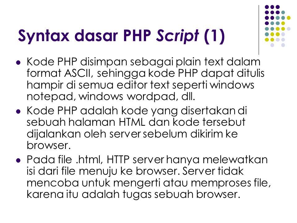 Syntax dasar PHP Script (1) Kode PHP disimpan sebagai plain text dalam format ASCII, sehingga kode PHP dapat ditulis hampir di semua editor text seper