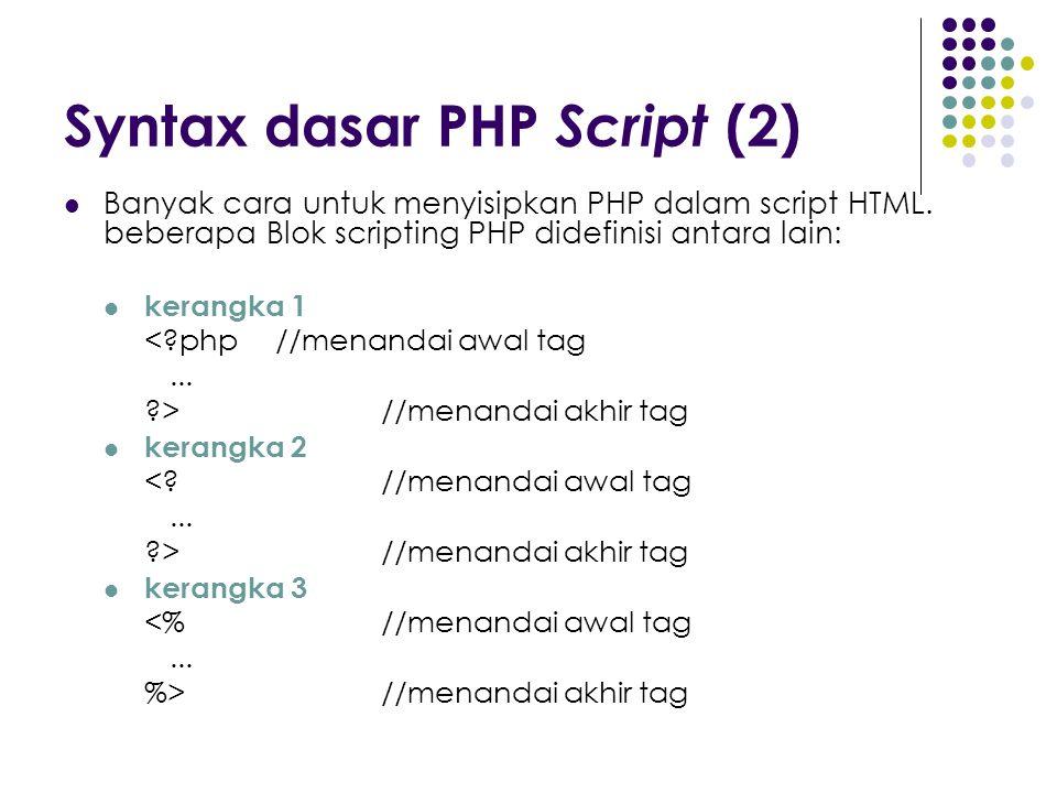 Syntax dasar PHP Script (2) Banyak cara untuk menyisipkan PHP dalam script HTML. beberapa Blok scripting PHP didefinisi antara lain: kerangka 1 <?php/