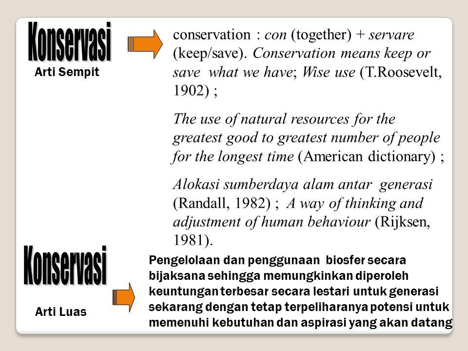 Konservasi Perlindungan Pelestarian Pemanfaatan secara lestari Mencegah dari gangguan atau ancaman Menjamin spesies dapat hidup dan berkembang Pemanfaatan spesies dengan tetap menjamin kelestariannya Tiga Aspek Konservasi