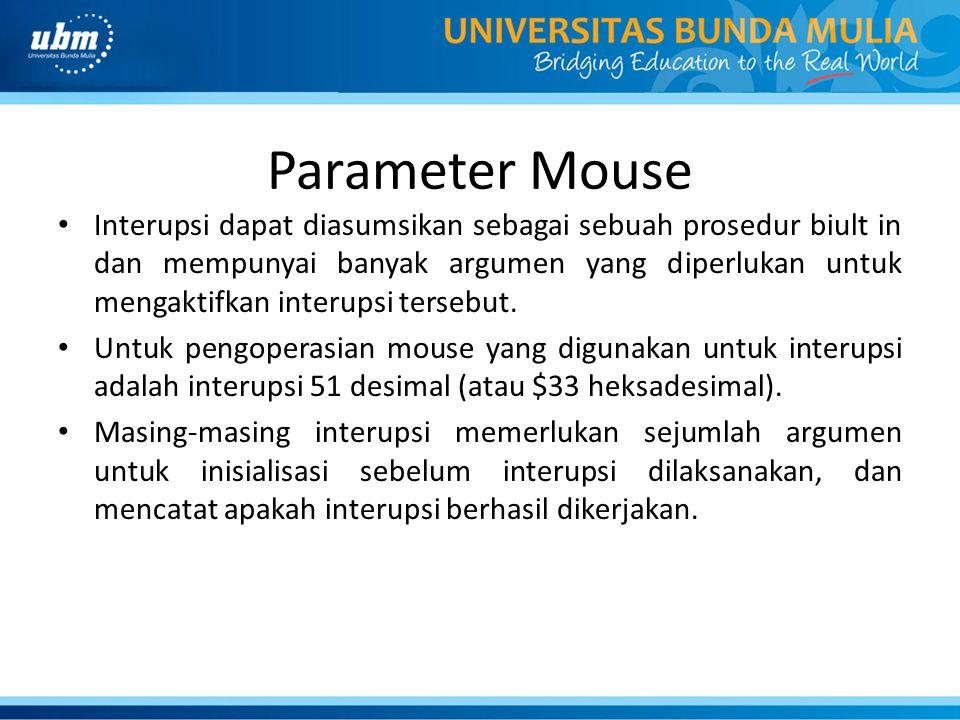 Parameter Mouse Interupsi dapat diasumsikan sebagai sebuah prosedur biult in dan mempunyai banyak argumen yang diperlukan untuk mengaktifkan interupsi tersebut.