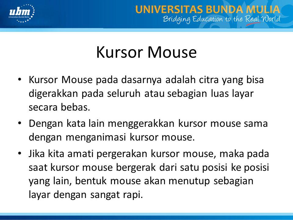 Kursor Mouse Kursor Mouse pada dasarnya adalah citra yang bisa digerakkan pada seluruh atau sebagian luas layar secara bebas.