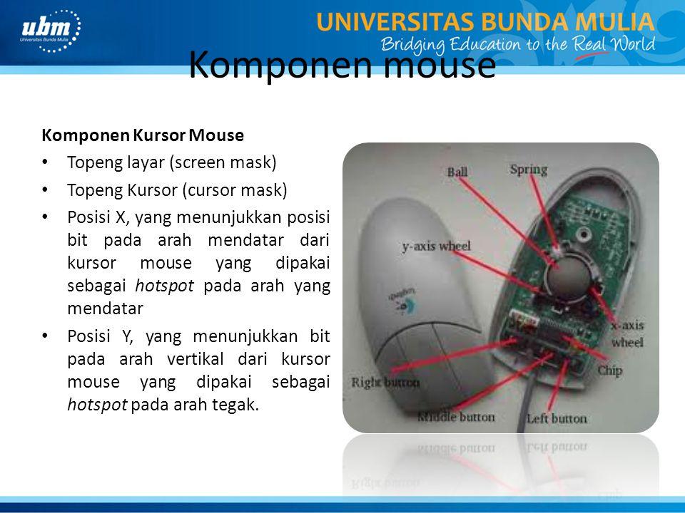 Komponen mouse Komponen Kursor Mouse Topeng layar (screen mask) Topeng Kursor (cursor mask) Posisi X, yang menunjukkan posisi bit pada arah mendatar dari kursor mouse yang dipakai sebagai hotspot pada arah yang mendatar Posisi Y, yang menunjukkan bit pada arah vertikal dari kursor mouse yang dipakai sebagai hotspot pada arah tegak.