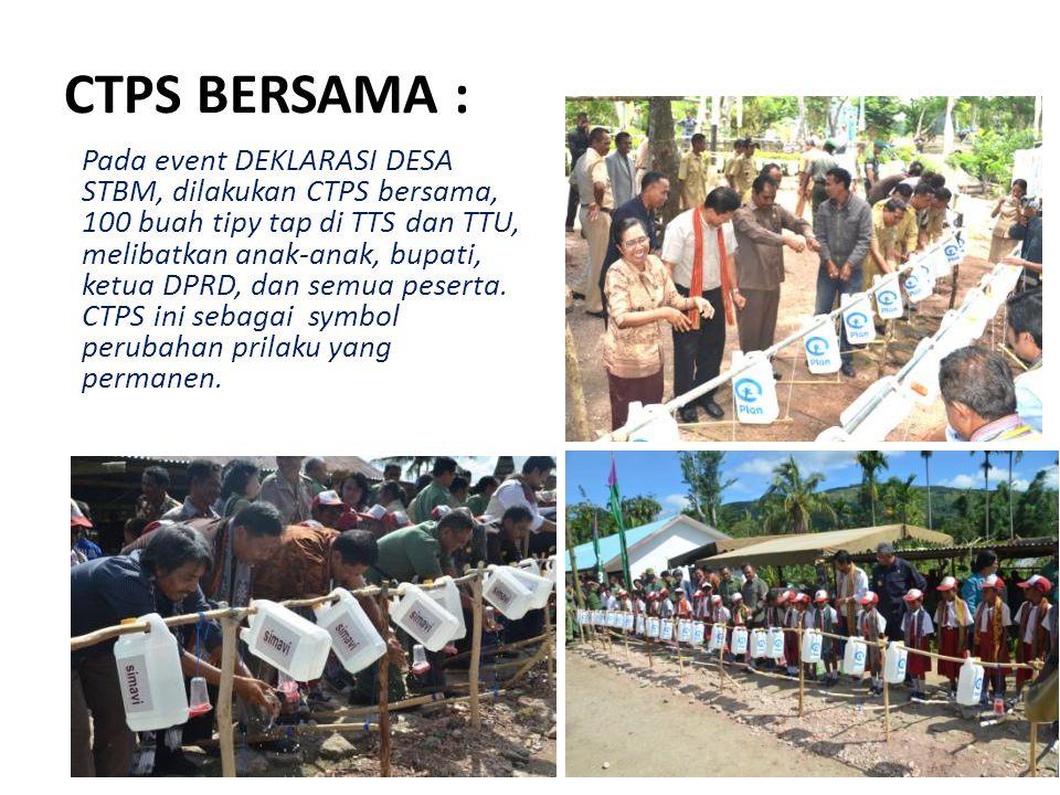 CTPS BERSAMA : Pada event DEKLARASI DESA STBM, dilakukan CTPS bersama, 100 buah tipy tap di TTS dan TTU, melibatkan anak-anak, bupati, ketua DPRD, dan