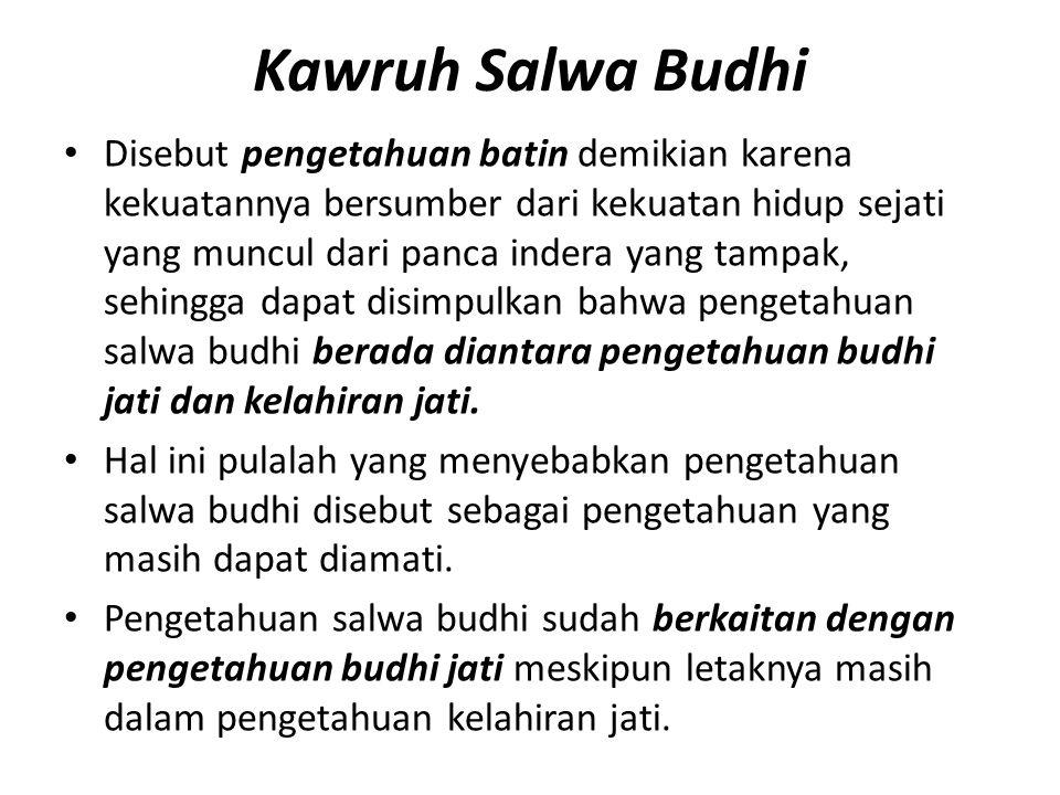Kawruh Salwa Budhi Disebut pengetahuan batin demikian karena kekuatannya bersumber dari kekuatan hidup sejati yang muncul dari panca indera yang tampa