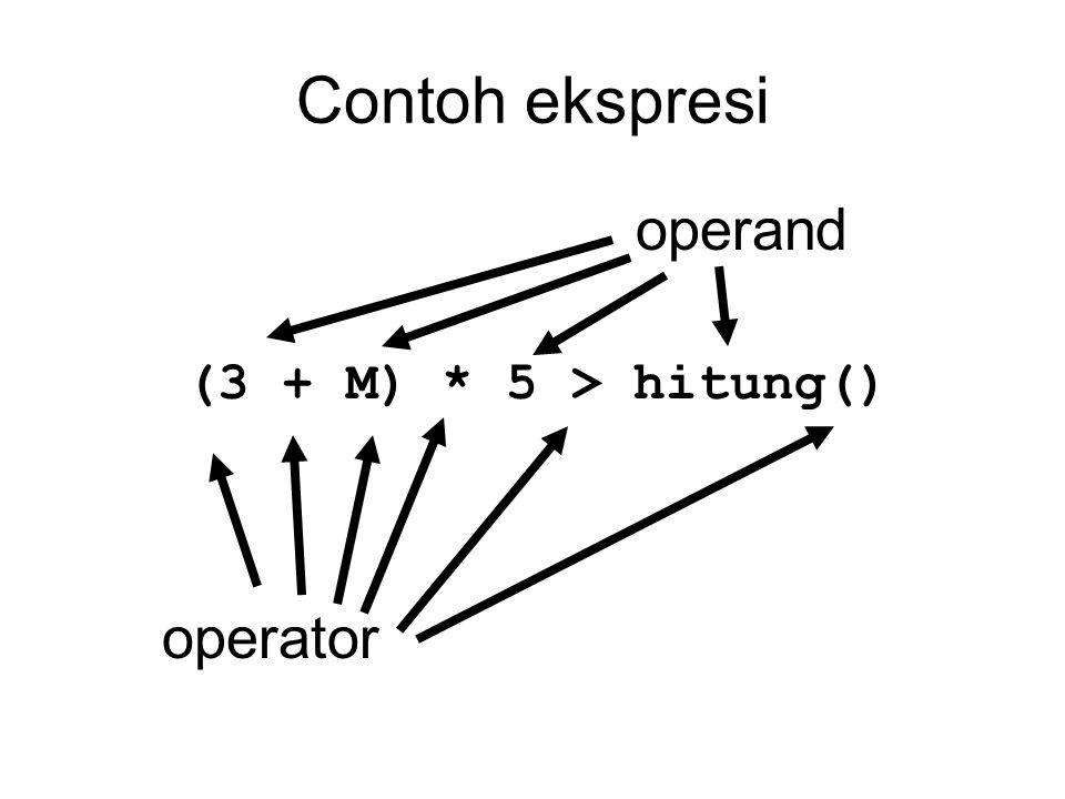 Operator Equality (binary) == (perbandingan sama dengan) != (perbandingan tidak sama dengan) Contoh: 76 == 54 98 != 43 kata == KaTa ekspresi ini tidak dapat memberikan hasil yang tepat.