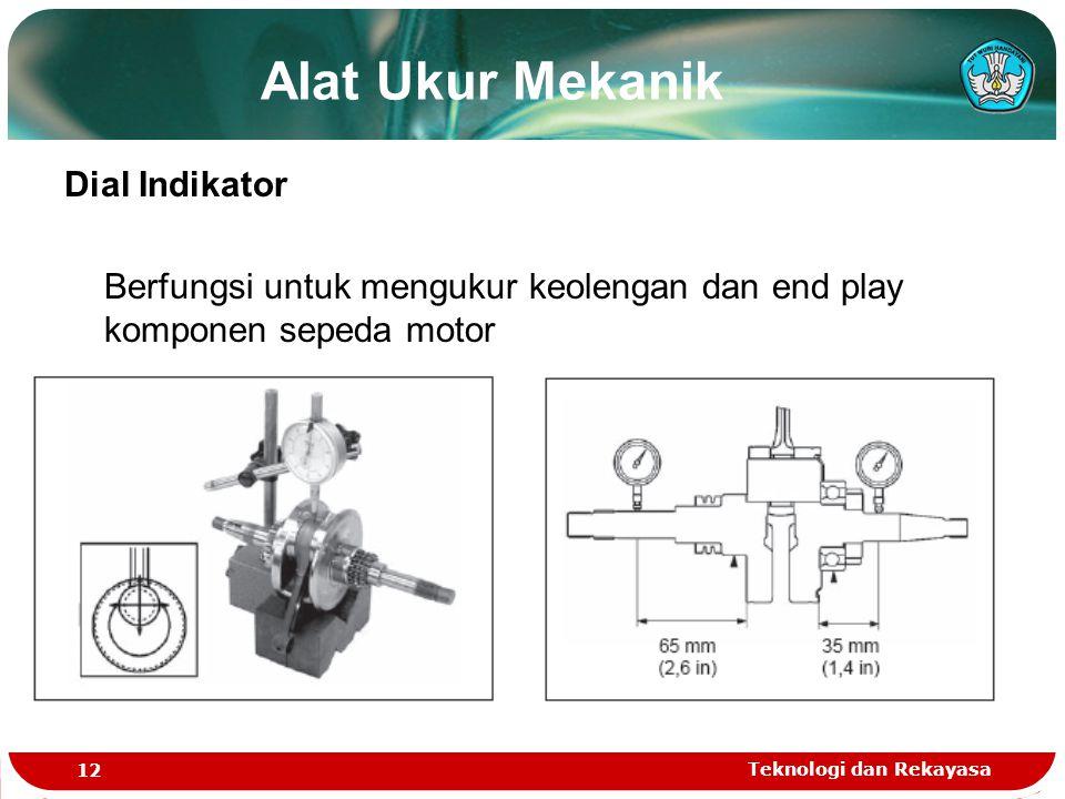 Teknologi dan Rekayasa 12 Dial Indikator Berfungsi untuk mengukur keolengan dan end play komponen sepeda motor Alat Ukur Mekanik