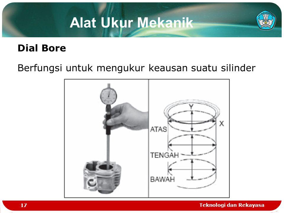 Teknologi dan Rekayasa 17 Alat Ukur Mekanik Dial Bore Berfungsi untuk mengukur keausan suatu silinder