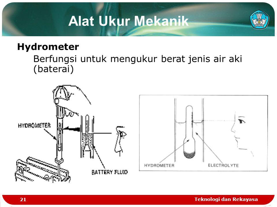 Teknologi dan Rekayasa 21 Alat Ukur Mekanik Hydrometer Berfungsi untuk mengukur berat jenis air aki (baterai)