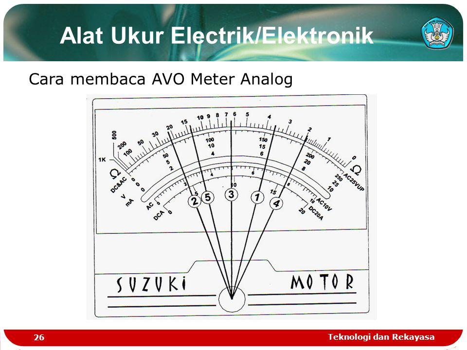 Teknologi dan Rekayasa 26 Alat Ukur Electrik/Elektronik Cara membaca AVO Meter Analog