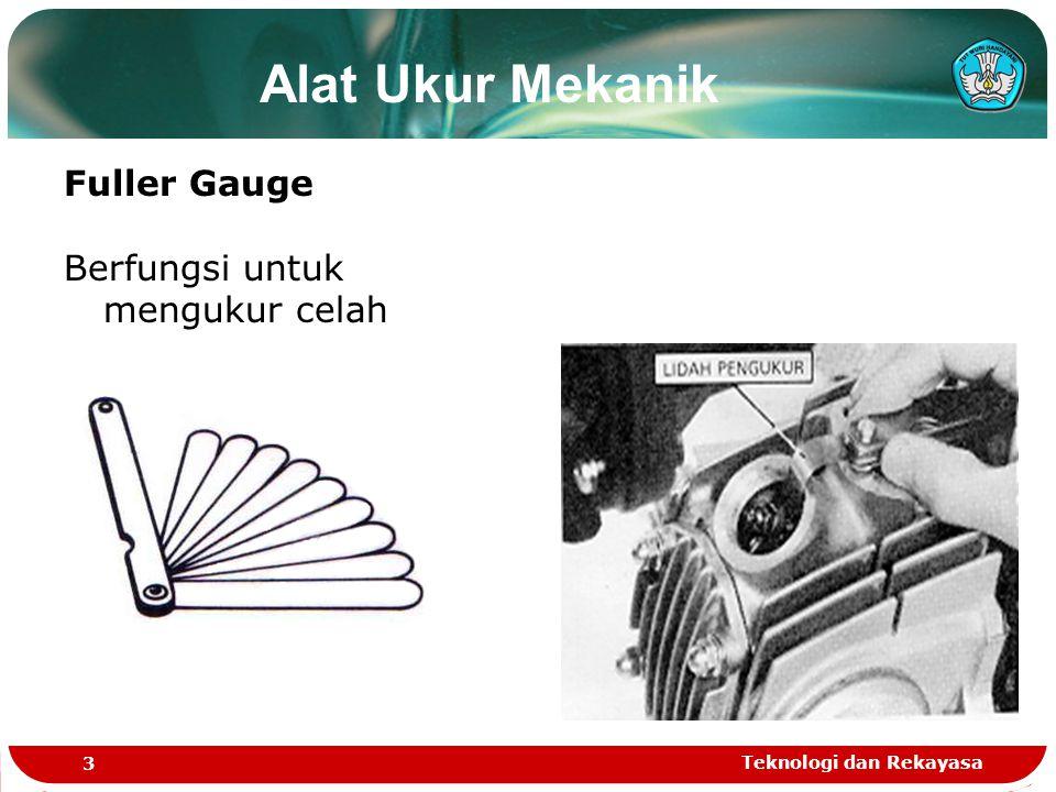 Teknologi dan Rekayasa 3 Fuller Gauge Berfungsi untuk mengukur celah Alat Ukur Mekanik