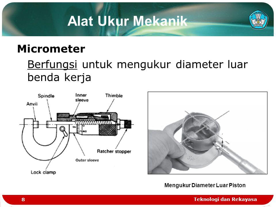 Teknologi dan Rekayasa 8 Alat Ukur Mekanik Micrometer Berfungsi untuk mengukur diameter luar benda kerja Mengukur Diameter Luar Piston