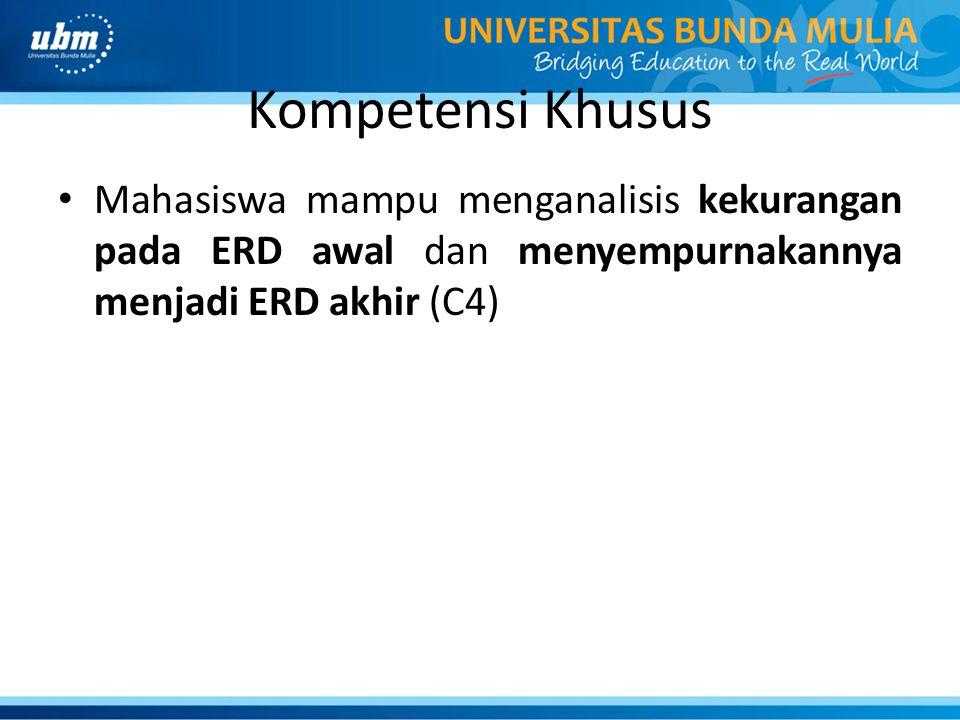 Kompetensi Khusus Mahasiswa mampu menganalisis kekurangan pada ERD awal dan menyempurnakannya menjadi ERD akhir (C4)