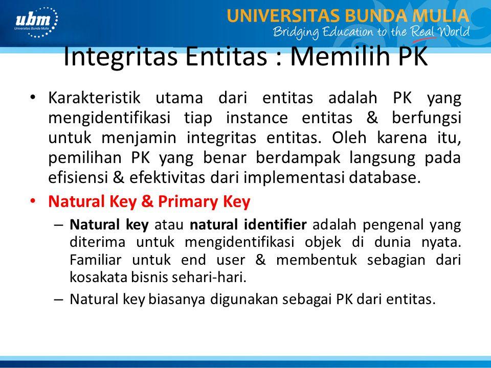 Integritas Entitas : Memilih PK Karakteristik utama dari entitas adalah PK yang mengidentifikasi tiap instance entitas & berfungsi untuk menjamin inte