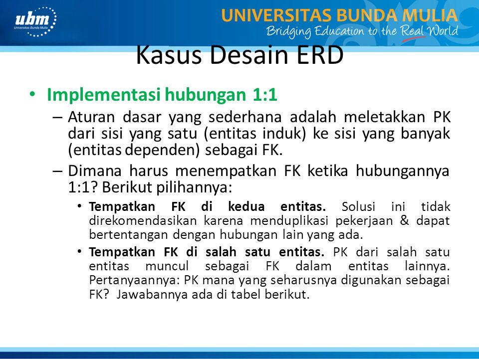 Kasus Desain ERD Implementasi hubungan 1:1 – Aturan dasar yang sederhana adalah meletakkan PK dari sisi yang satu (entitas induk) ke sisi yang banyak