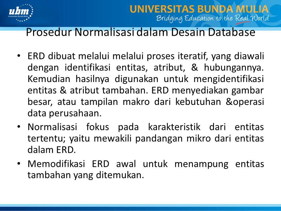 Prosedur Normalisasi dalam Desain Database ERD dibuat melalui melalui proses iteratif, yang diawali dengan identifikasi entitas, atribut, & hubunganny