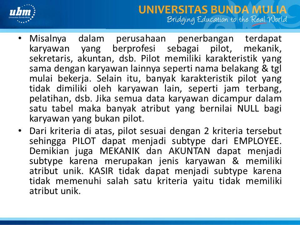 Misalnya dalam perusahaan penerbangan terdapat karyawan yang berprofesi sebagai pilot, mekanik, sekretaris, akuntan, dsb. Pilot memiliki karakteristik