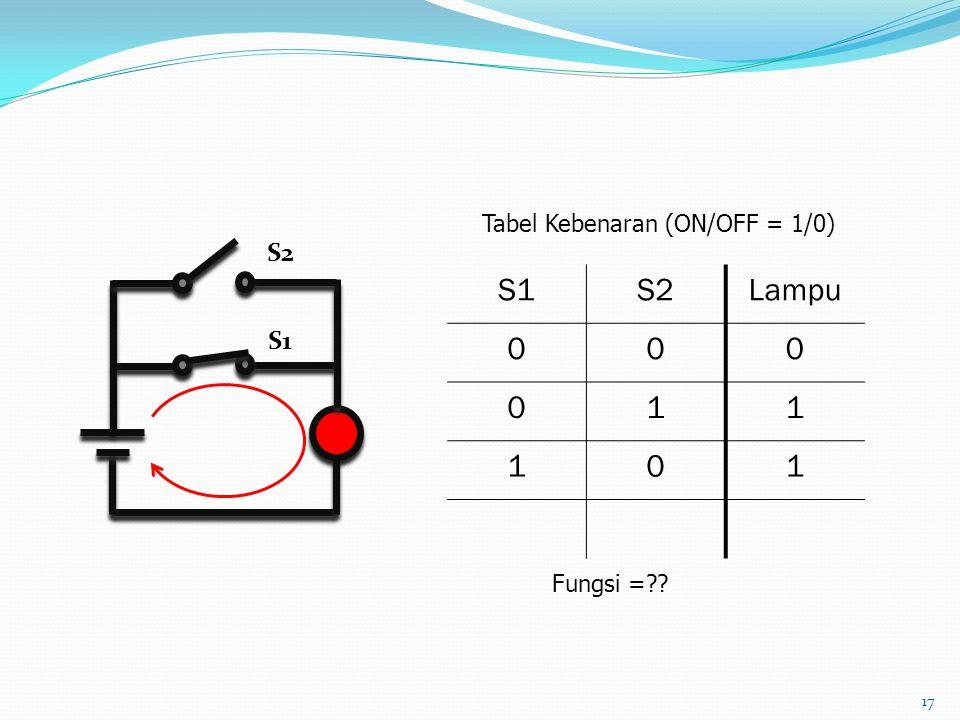 17 S1S2Lampu 000 011 101 Fungsi =?? Tabel Kebenaran (ON/OFF = 1/0) S1 S2