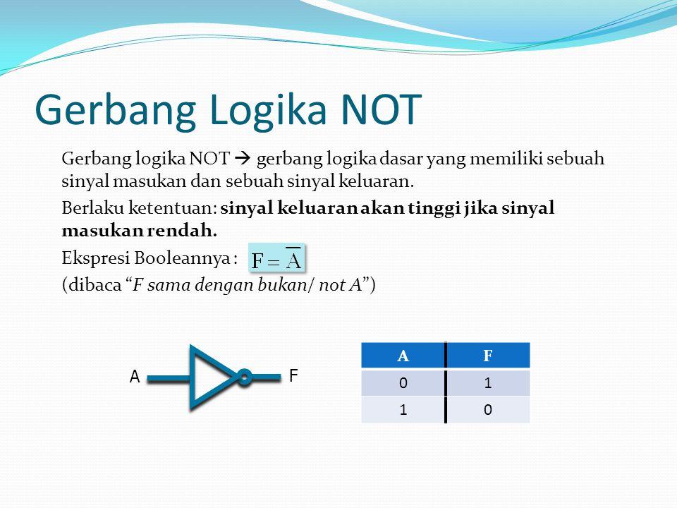 Gerbang Logika NOT Gerbang logika NOT  gerbang logika dasar yang memiliki sebuah sinyal masukan dan sebuah sinyal keluaran. Berlaku ketentuan: sinyal