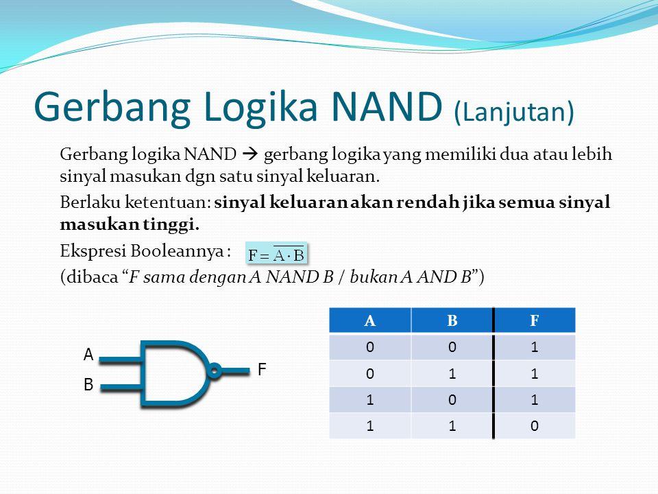Gerbang Logika NAND (Lanjutan) Gerbang logika NAND  gerbang logika yang memiliki dua atau lebih sinyal masukan dgn satu sinyal keluaran. Berlaku kete