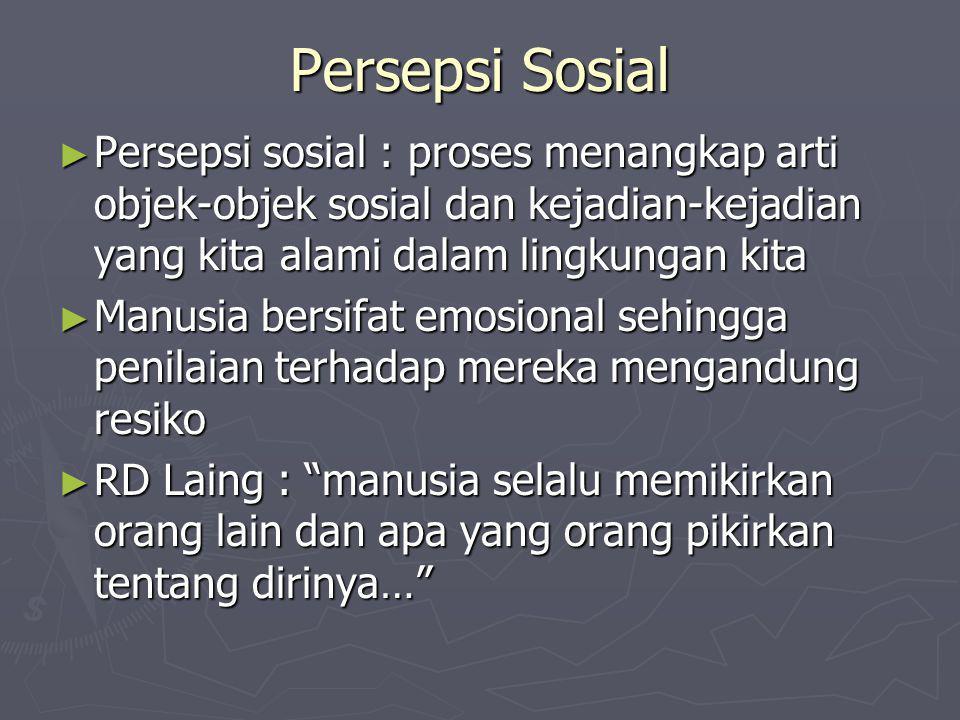 Persepsi Sosial ► Persepsi sosial : proses menangkap arti objek-objek sosial dan kejadian-kejadian yang kita alami dalam lingkungan kita ► Manusia ber