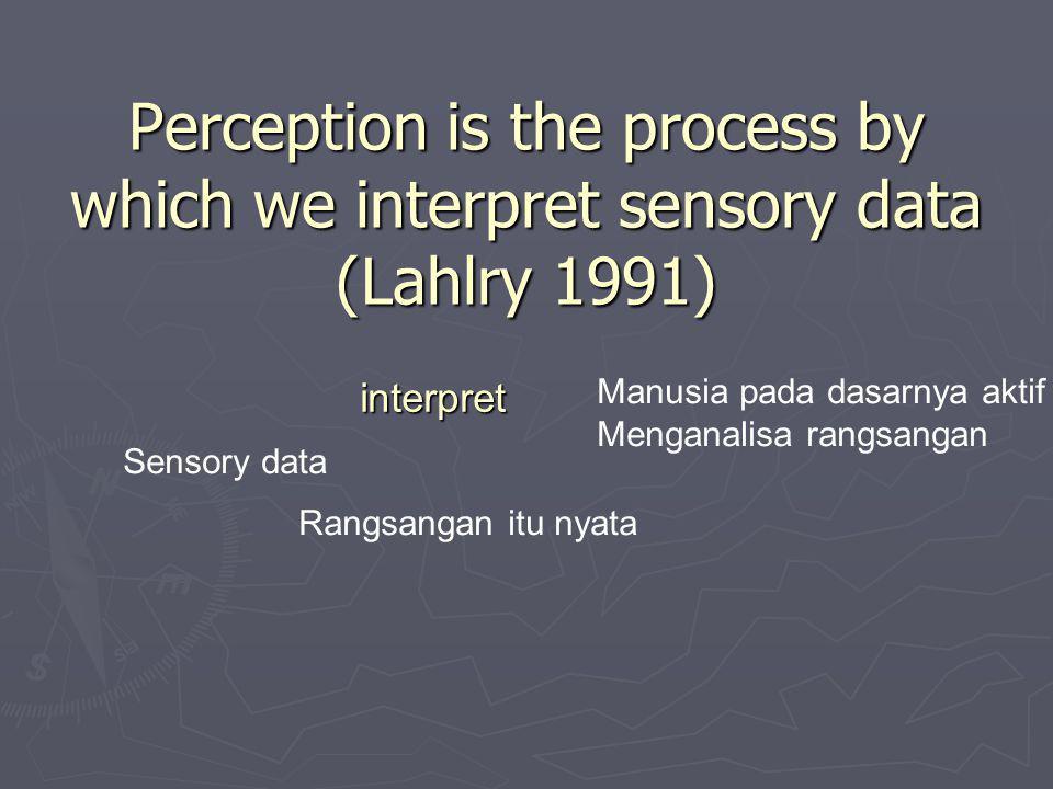 Persepsi terhadap Lingkungan Fisik ► Indra menjadi alat utama ► Tetapi indra dapat menipu ► Latar belakang pengalaman, budaya dan suasana psikologis yang berbeda membuat persepsi kita berbeda terhadap suatu objek