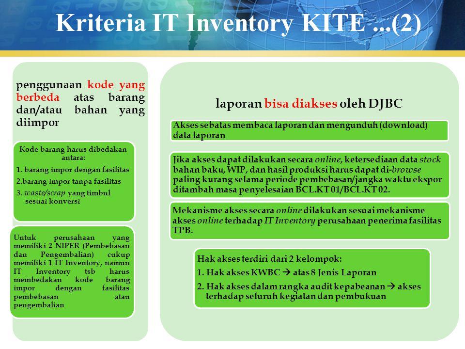 Kriteria IT Inventory KITE...(2) penggunaan kode yang berbeda atas barang dan/atau bahan yang diimpor Kode barang harus dibedakan antara: 1. barang im