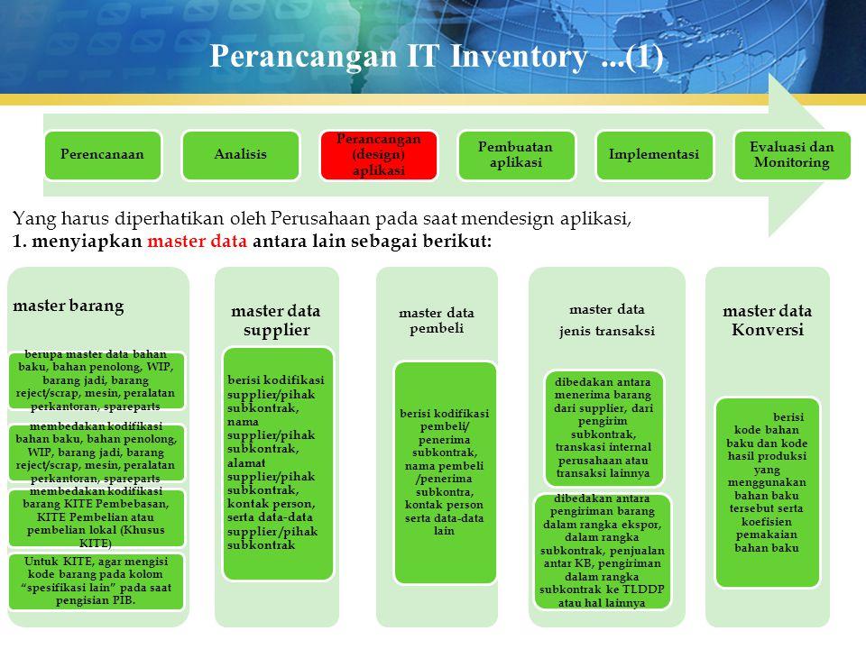 Perancangan IT Inventory...(1) PerencanaanAnalisis Perancangan (design) aplikasi Pembuatan aplikasi Implementasi Evaluasi dan Monitoring Yang harus di