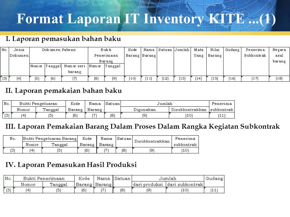 Format Laporan IT Inventory KITE...(1) I. Laporan pemasukan bahan baku II. Laporan pemakaian bahan baku III. Laporan Pemakaian Barang Dalam Proses Dal