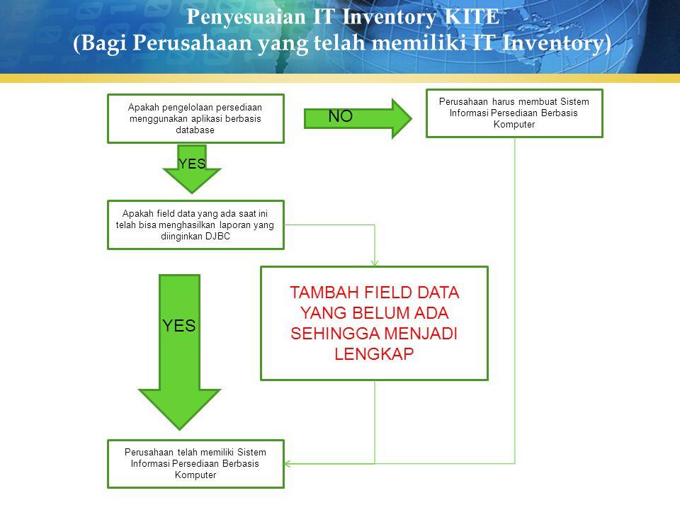 Penyesuaian IT Inventory KITE ( Bagi Perusahaan yang telah memiliki IT Inventory) Apakah pengelolaan persediaan menggunakan aplikasi berbasis database