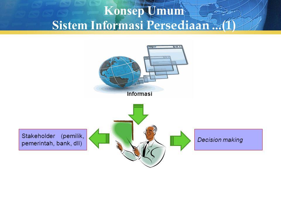 Konsep Umum Sistem Informasi Persediaan...(1) Stakeholder (pemilik, pemerintah, bank, dll) Decision making Informasi