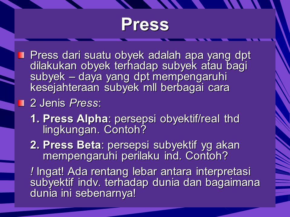 Press Press dari suatu obyek adalah apa yang dpt dilakukan obyek terhadap subyek atau bagi subyek – daya yang dpt mempengaruhi kesejahteraan subyek mll berbagai cara 2 Jenis Press: 1.Press Alpha: persepsi obyektif/real thd lingkungan.