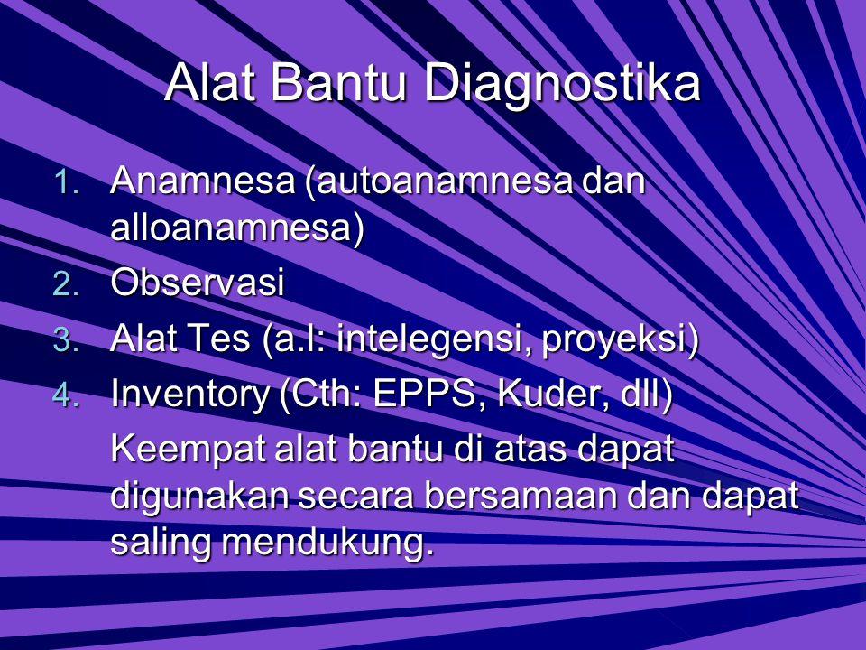 Alat Bantu Diagnostika 1.Anamnesa (autoanamnesa dan alloanamnesa) 2.