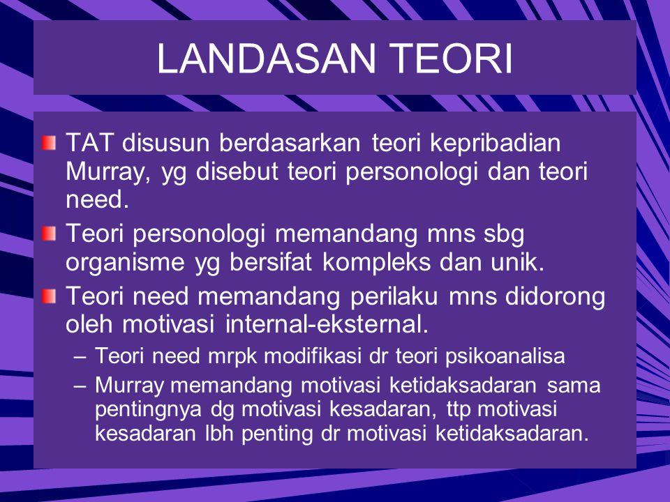 LANDASAN TEORI TAT disusun berdasarkan teori kepribadian Murray, yg disebut teori personologi dan teori need.