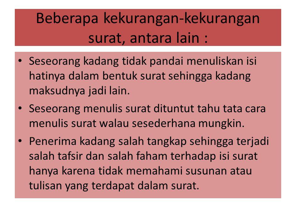 CONTOH SURAT BENTUK BALOK CV ELBA INDONESIA CIA Jalan Merdeka barat 13 telp.