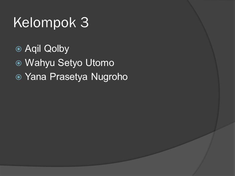 Kelompok 3  Aqil Qolby  Wahyu Setyo Utomo  Yana Prasetya Nugroho