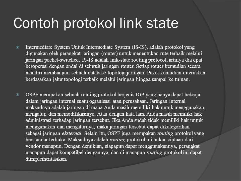 Contoh protokol link state  Intermediate System Untuk Intermediate System (IS-IS), adalah protokol yang digunakan oleh perangkat jaringan (router) untuk menentukan rute terbaik melalui jaringan packet-switched.