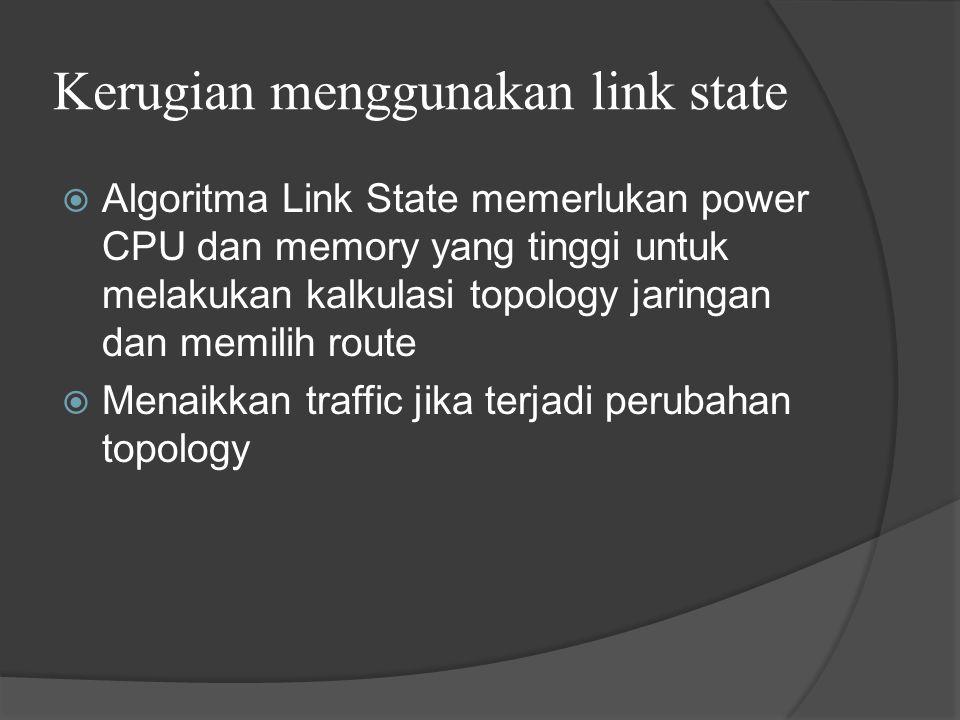 Kerugian menggunakan link state  Algoritma Link State memerlukan power CPU dan memory yang tinggi untuk melakukan kalkulasi topology jaringan dan memilih route  Menaikkan traffic jika terjadi perubahan topology