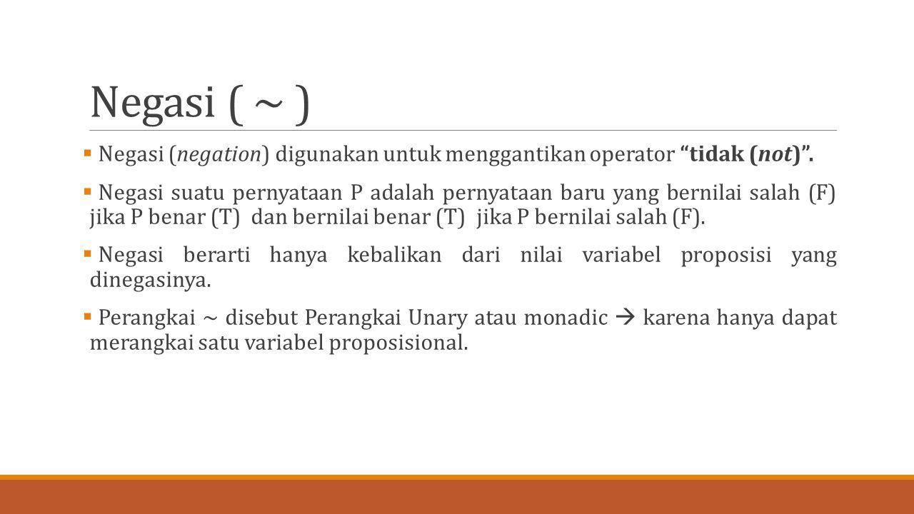"Negasi ( ~ )  Negasi (negation) digunakan untuk menggantikan operator ""tidak (not)"".  Negasi suatu pernyataan P adalah pernyataan baru yang bernilai"