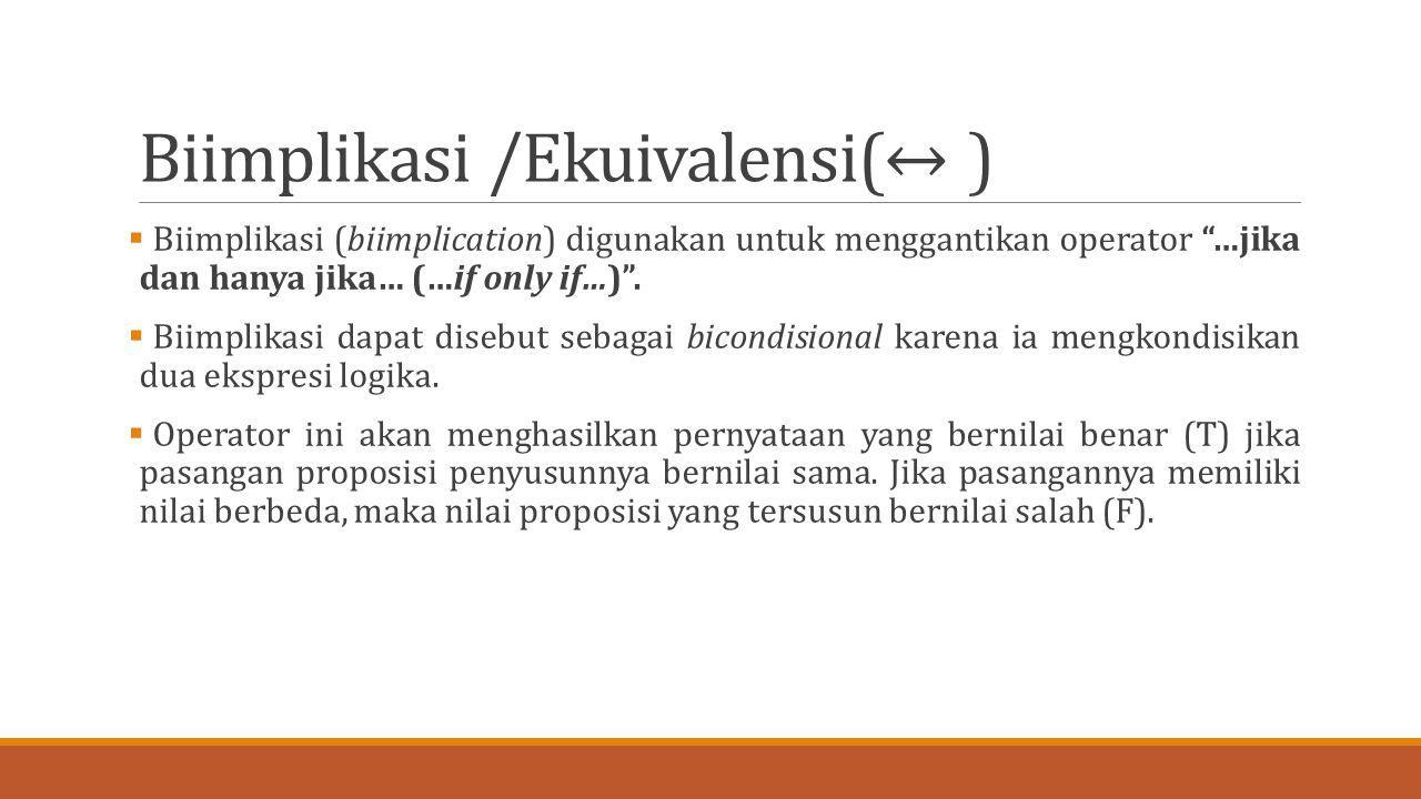 """Biimplikasi /Ekuivalensi(↔ )  Biimplikasi (biimplication) digunakan untuk menggantikan operator """"…jika dan hanya jika… (…if only if…)"""".  Biimplikasi"""